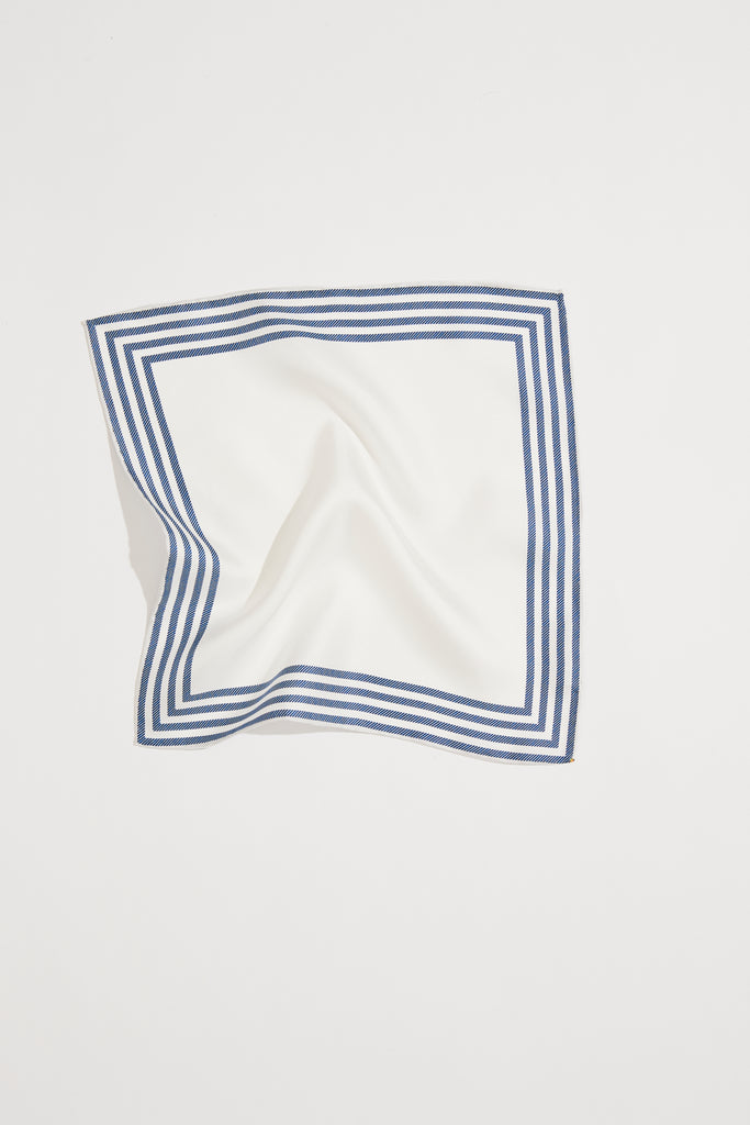Between The Lines Blue White Stripe Silk Pocket Square | Frankie Peach