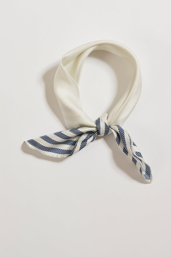 Between The Lines Blue White Striped Silk Scarf | Frankie Peach Australia