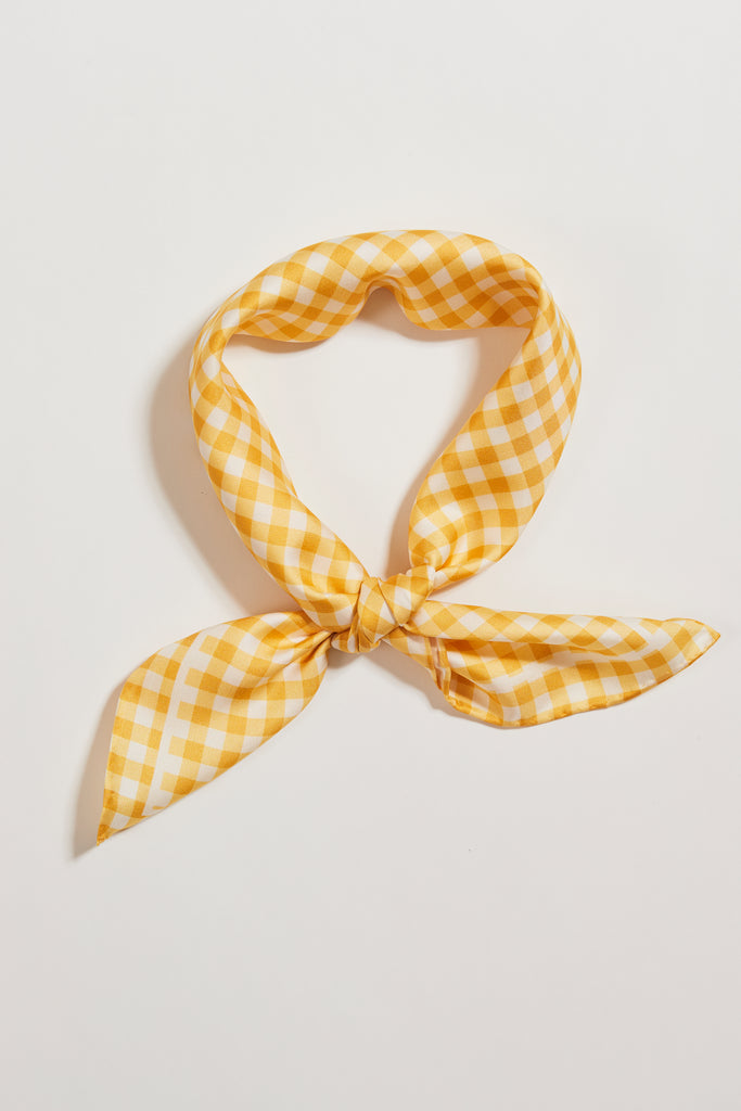 Be Square Yellow Gingham Silk Scarf | Frankie Peach Australia