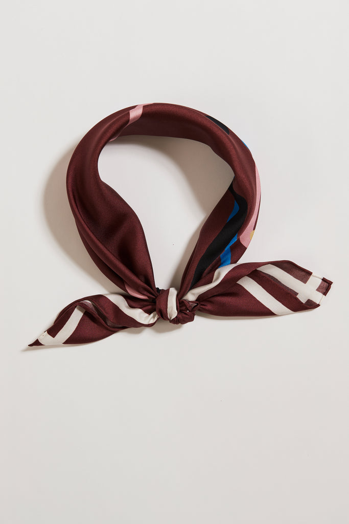 DRAW THE LINE BURGUNDY SILK SCARF | Frankie Peach Australia | Luxury Silk Scarves in Unique Prints