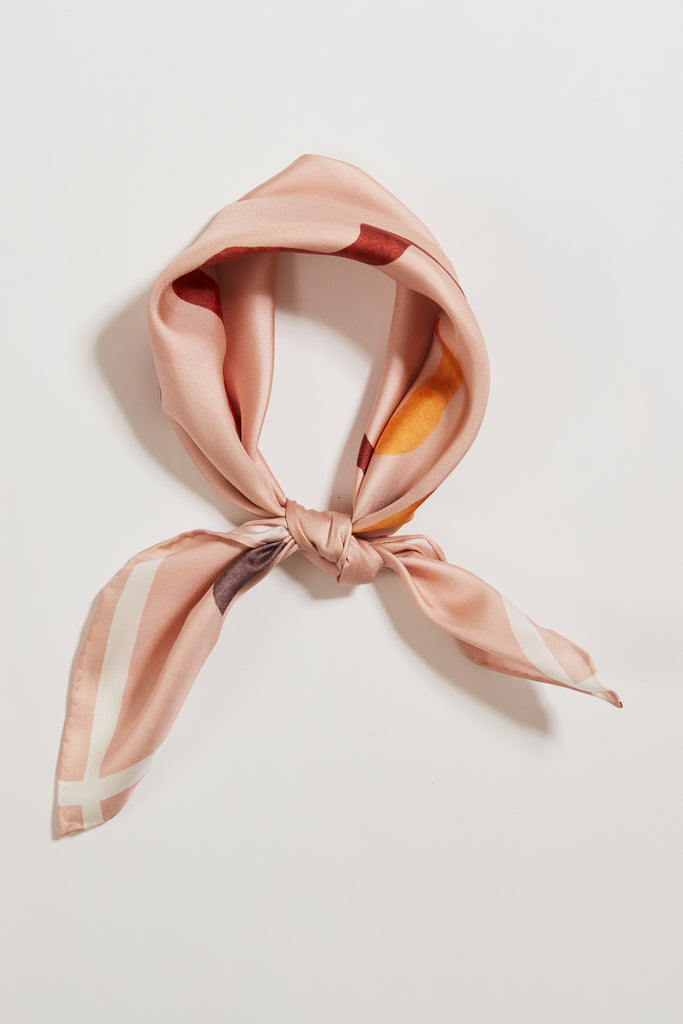 DRAW THE LINE BLUSH SILK SCARF