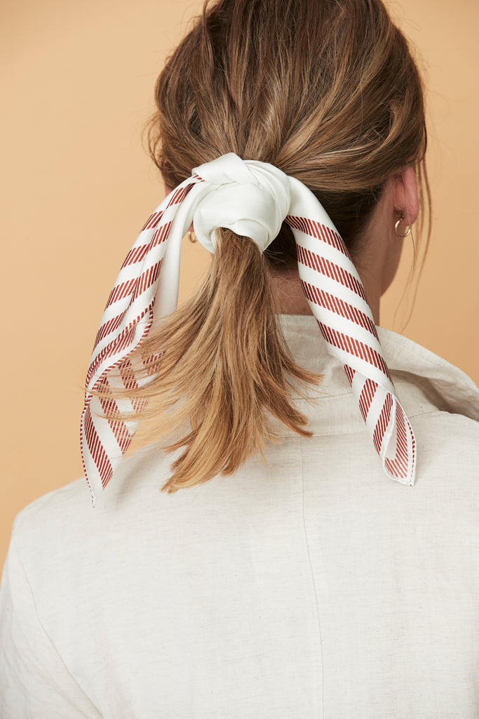 Between The Lines Red & White Striped Silk Scarf | Frankie Peach Australia