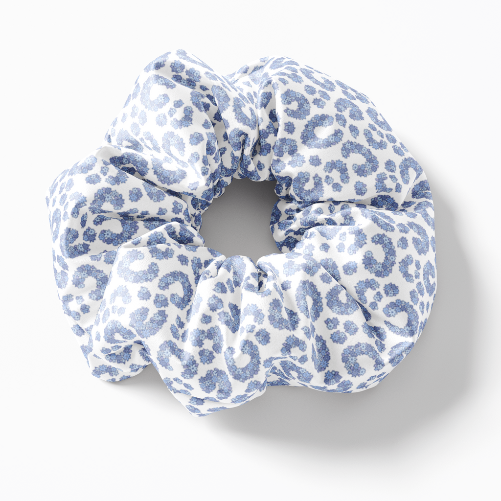 white blue Floral Horseshoe Lucky One Silk Scrunchies (set of 3) | Frankie Peach Silk Accessories Australia