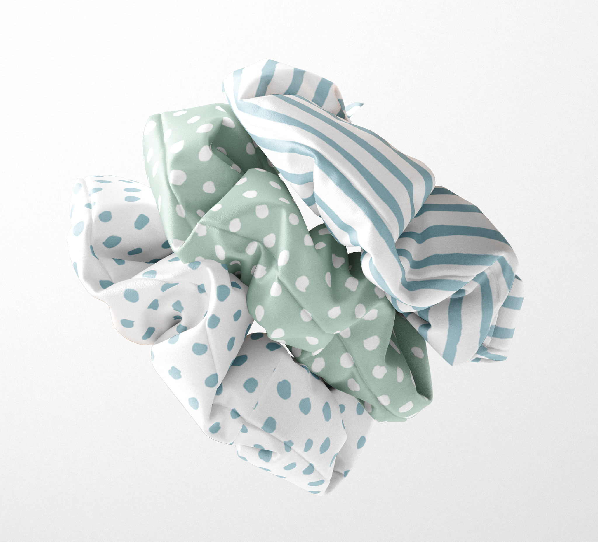 Sky Blue & Sage Green Spots and Stripes Silk Scrunchies (set of 3) | Frankie Peach Silk Accessories