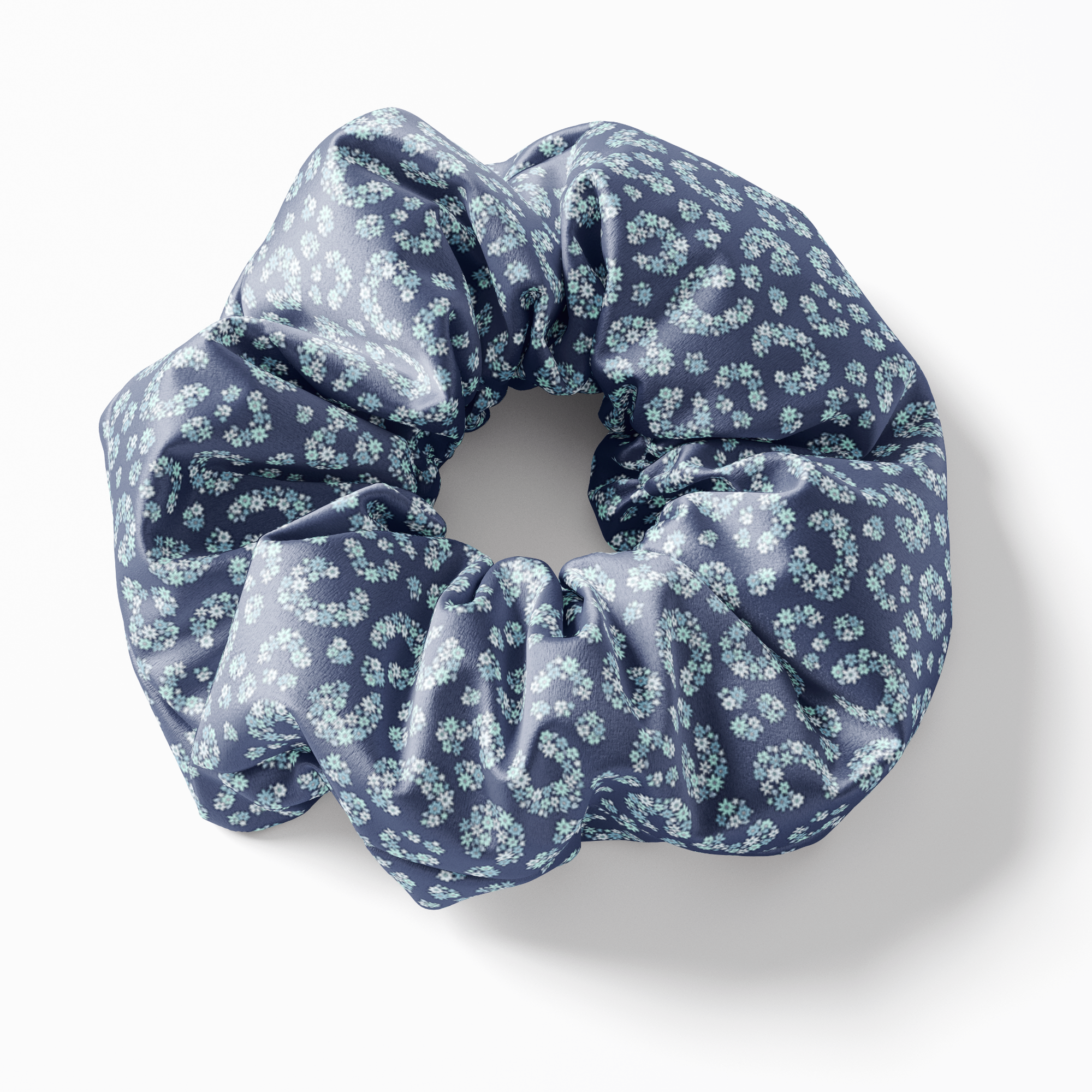 Navy Floral Horseshoe Lucky One Silk Scrunchies (set of 3) | Frankie Peach Silk Accessories Australia
