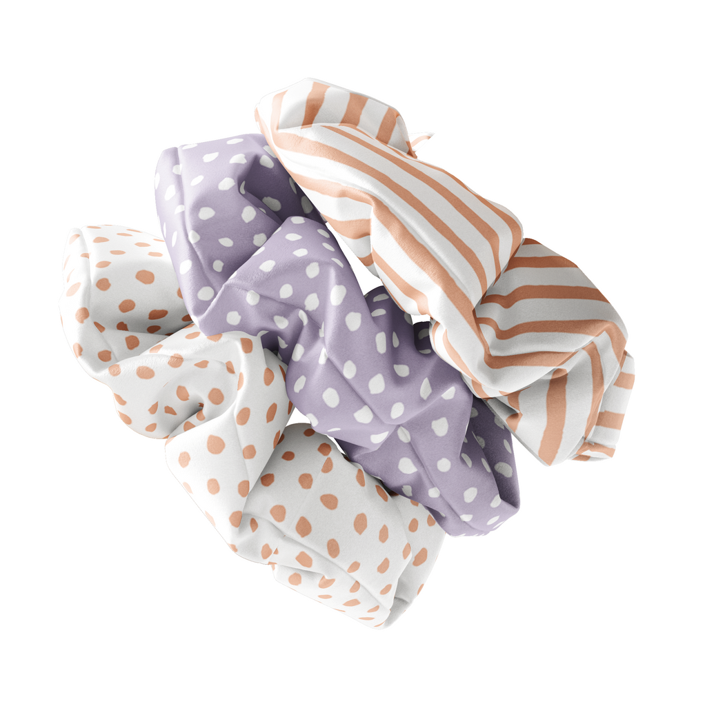 Peach & Lilac Spots and Stripes Silk Scrunchies (set of 3) | Frankie Peach Silk Accessories
