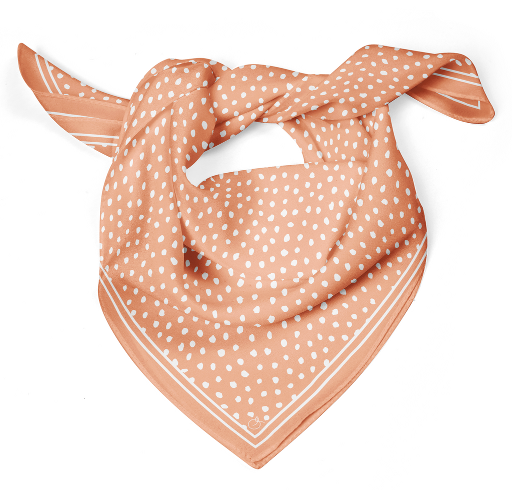 Peach Spot On Classic Square Silk Scarf | Frankie Peach Silk Scarves Australia