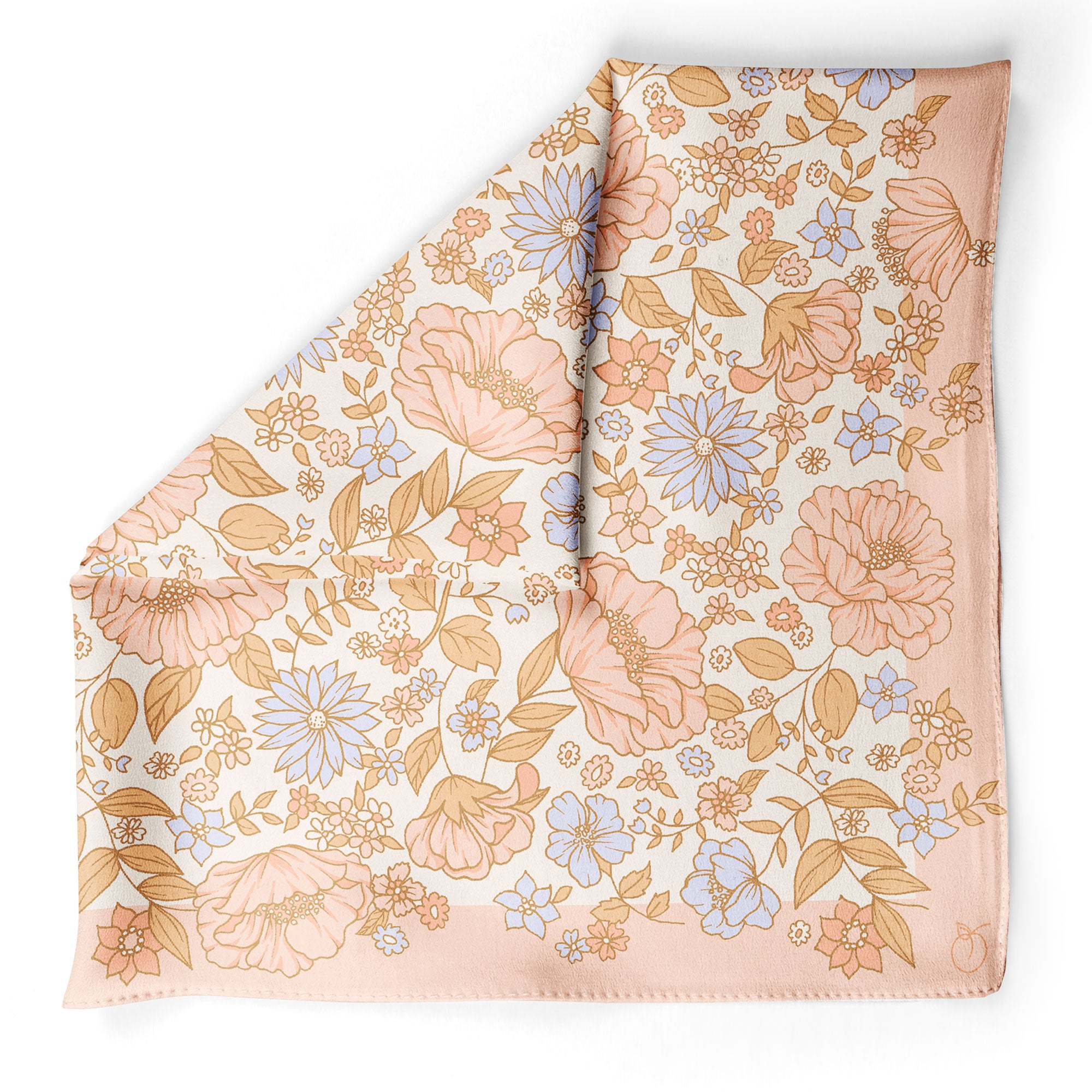 Peach & Blue Wildflowers Oversized Square Silk Scarf | Frankie Peach Australia