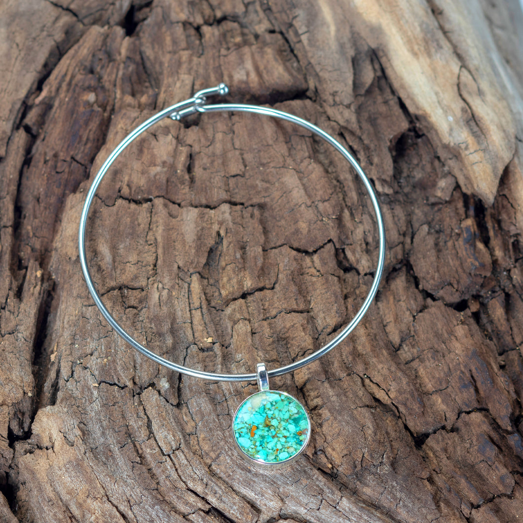 Beach Bangle, Turquoise, Round Design
