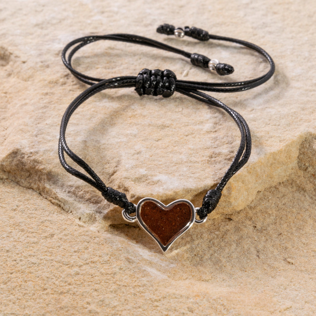 Heart Black Cord Bracelet - Bell Rock