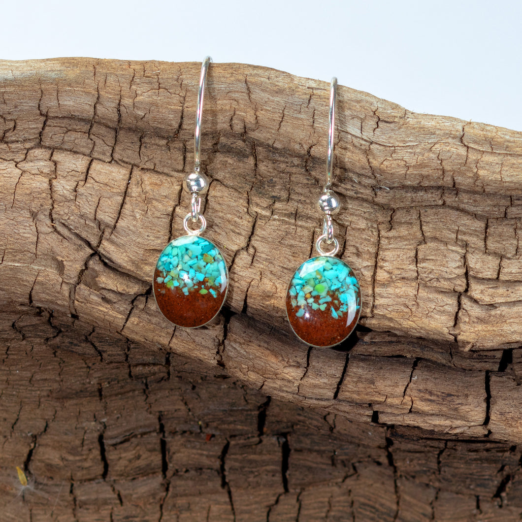 Sand Drop Earrings, Turquoise and Bell Rock Soil
