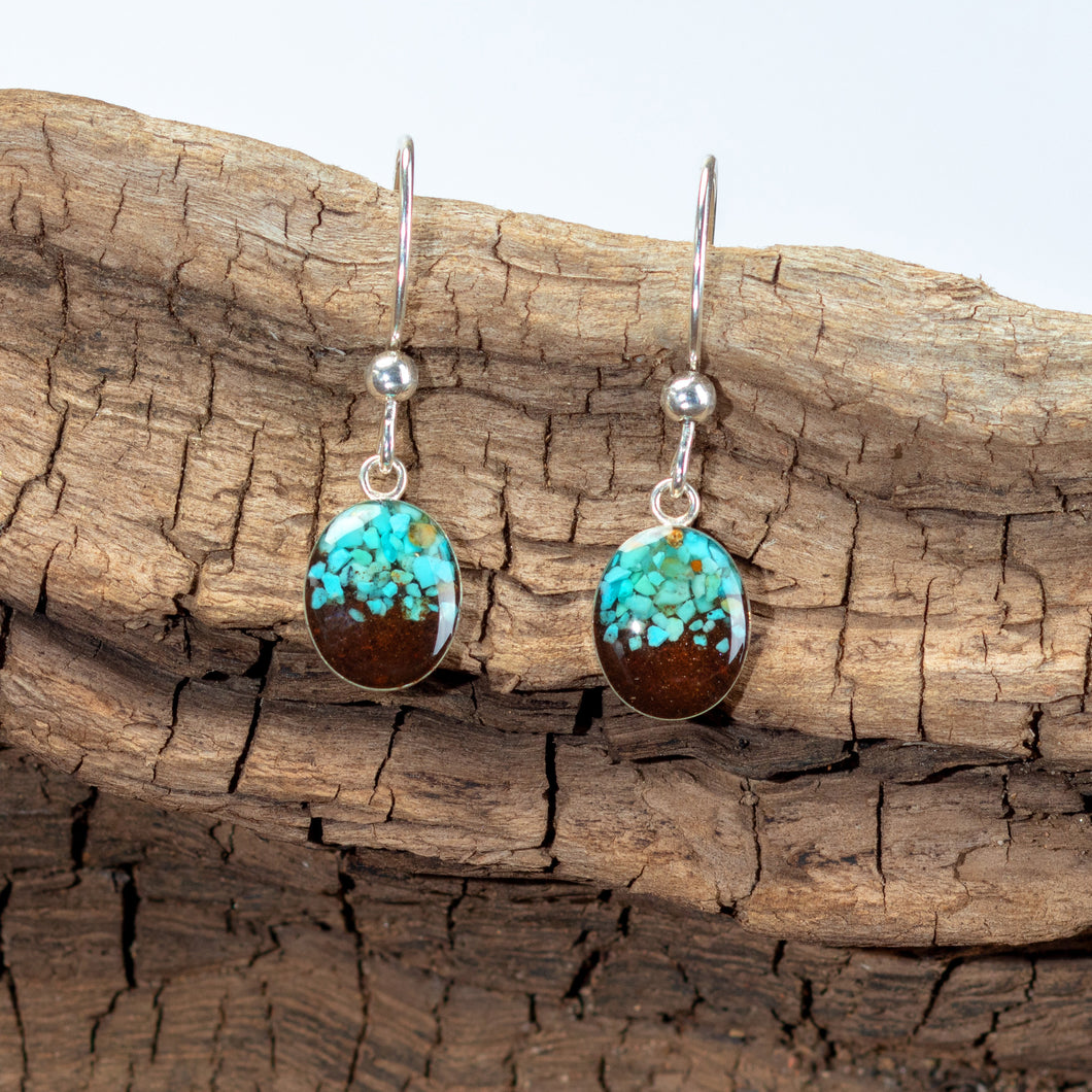 Sand Drop Earrings, Turquoise and Cathedral Rock