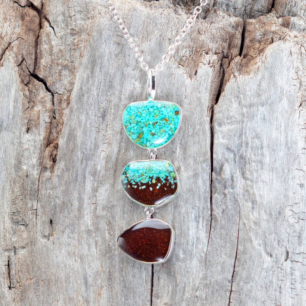 Triple Drop Necklace, Turquoise and Cathedral Rock Soil