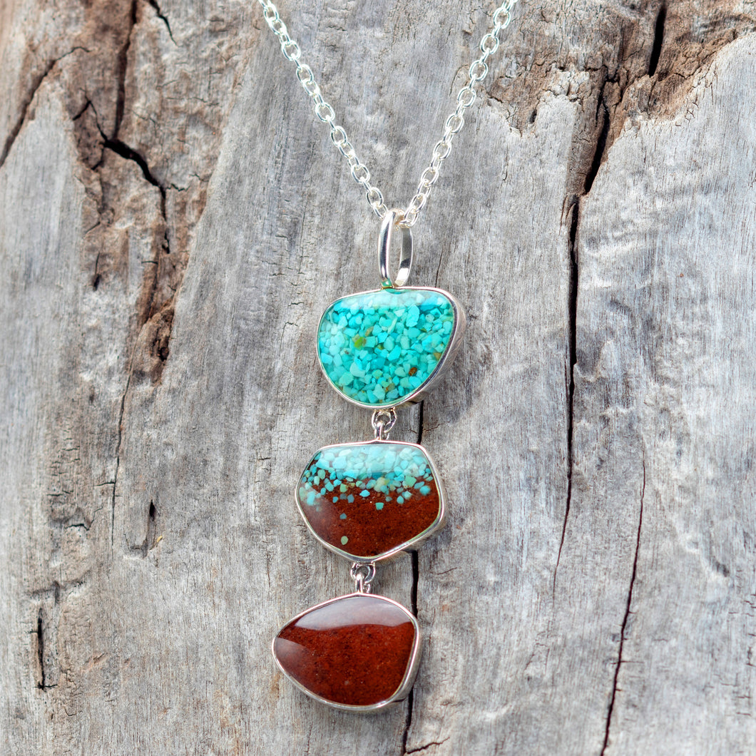 Triple Drop Necklace, Turquoise and Bell Rock Soil