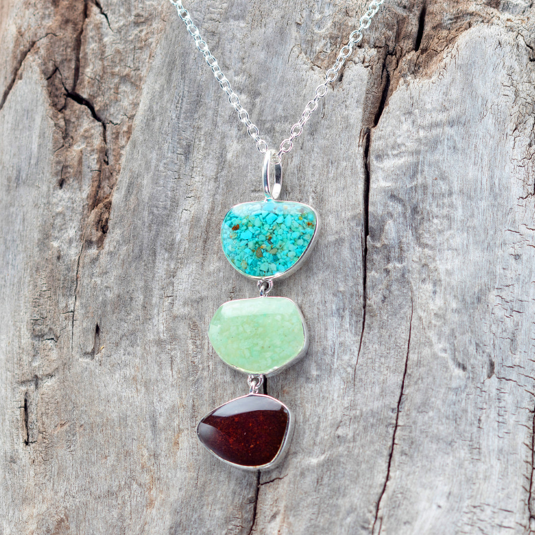 Triple Drop Necklace, Turquoise, Amazonite and Bell Rock Soil