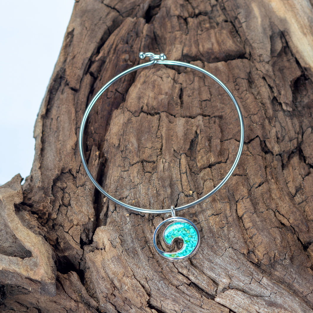 Beach Bangle, Turquoise, Wave Design