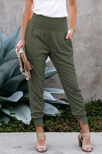 Khaki Green Cotton Joggers