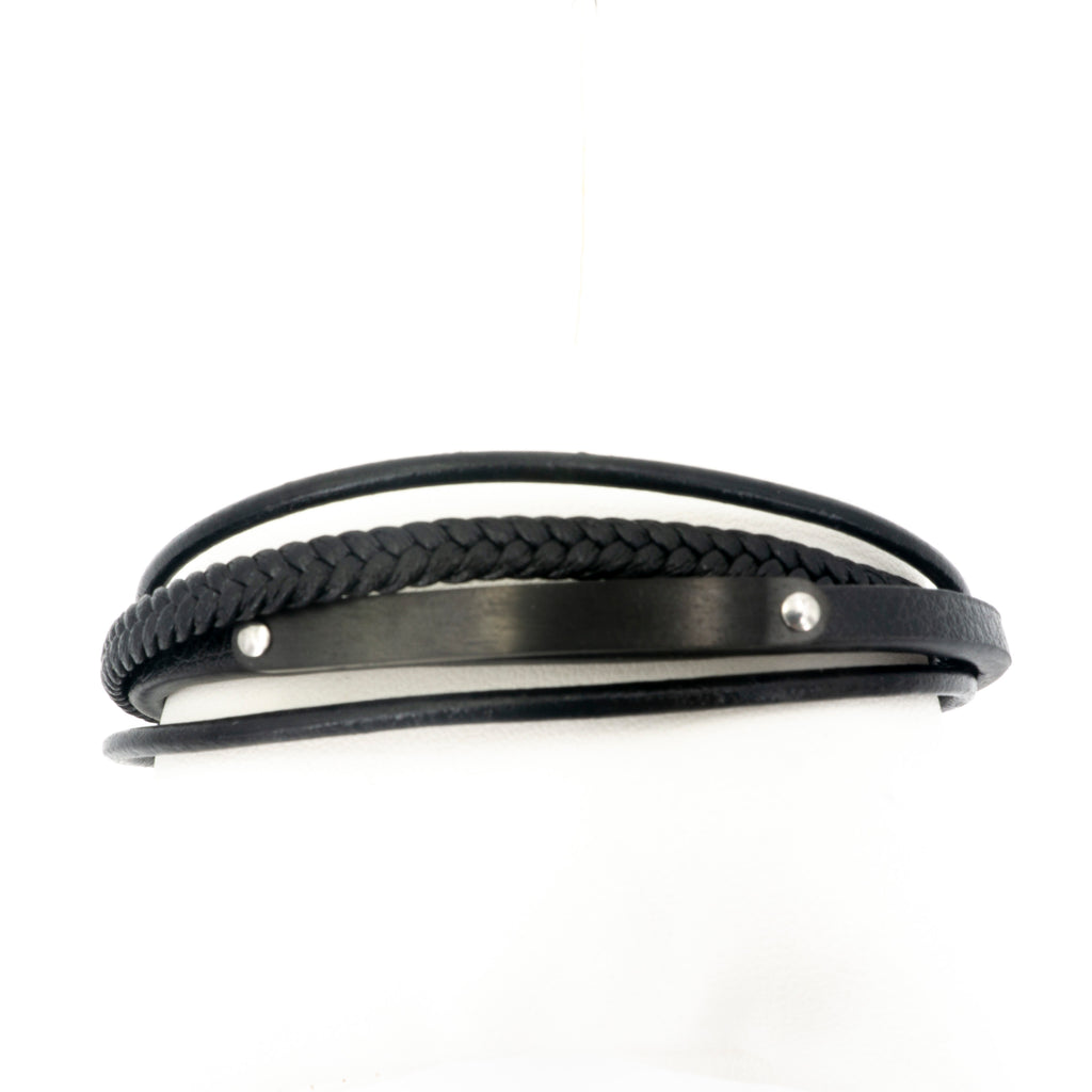 BLK Leather Bracelet W Stainless Steel