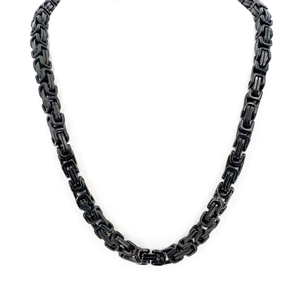 "22"" Black Link 8MM Stainless Steel Chain"