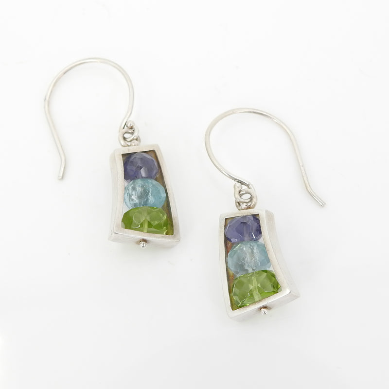 Sterling Silver Apatite Peridot Iolite Earring