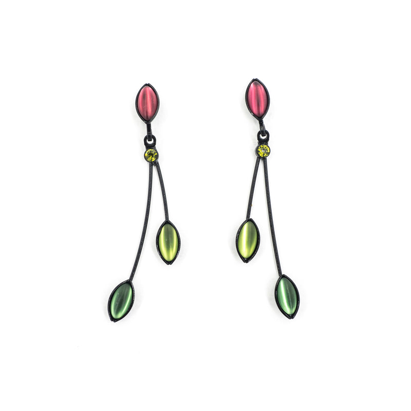 3 Leaves Crystal Red Green Earring