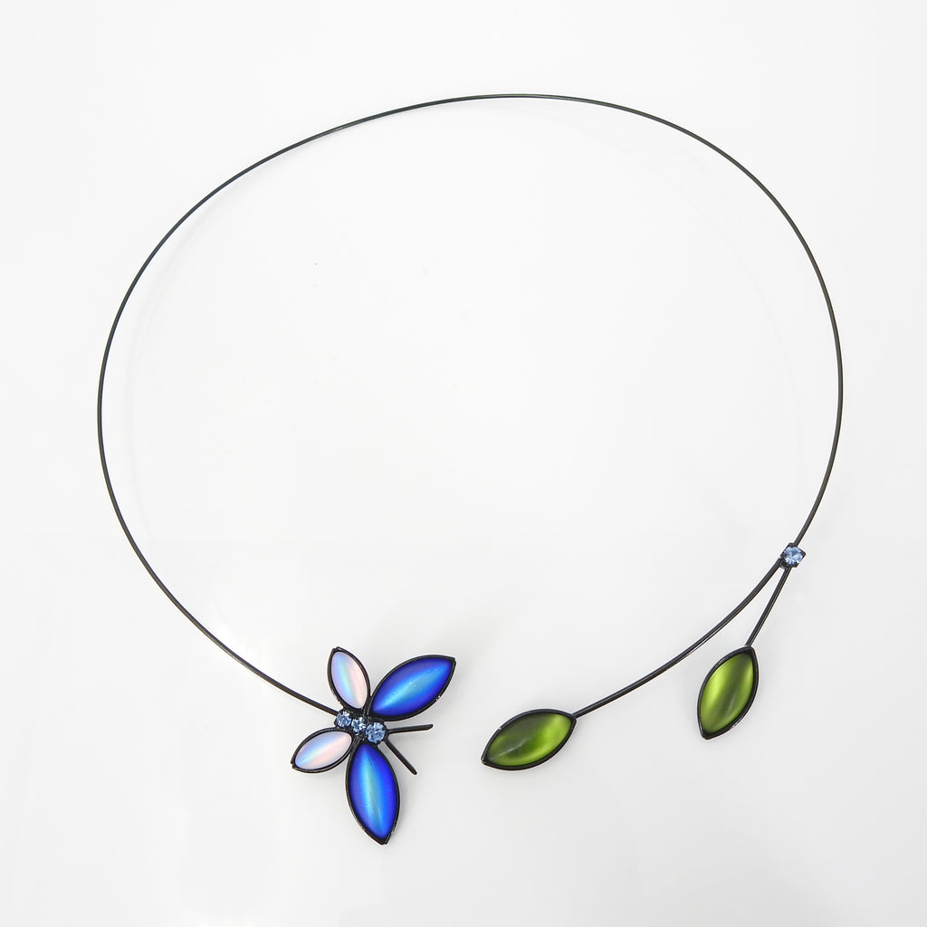 Butterfly & Leaves Memory Wire Necklace