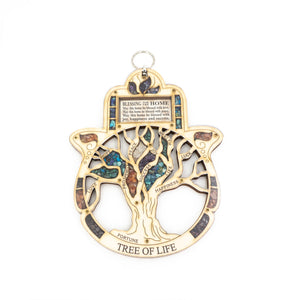 Hanging Wood Hamsa Blessing Tree of Life