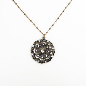 Round Stoned Filigree & Crystal Neckalce