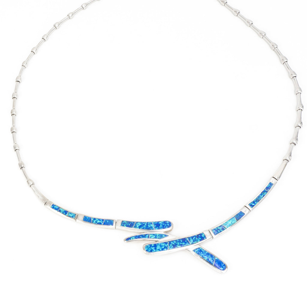 S/S Necklace w/Inlay Created Opal