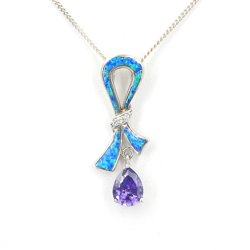Sterling Silver Created Opal, CZ & Amethyst Pendant