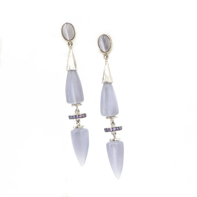 S/S Purple Moonstone CZ Earrings