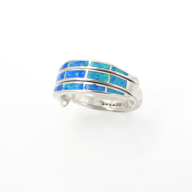 Sterling Silver Created Opal CZ Convertable Ring