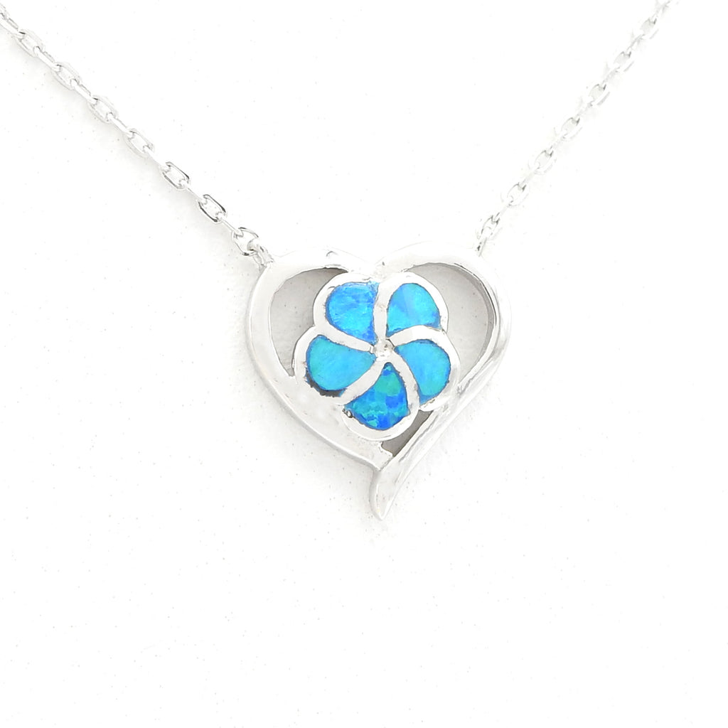 Sterling Silver Created Opal Heart & Flower Necklace