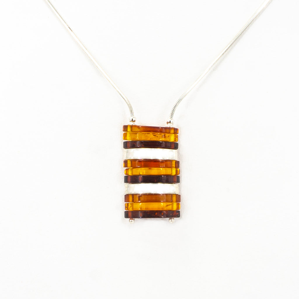 S/S Mixed Amber W Silver Bars