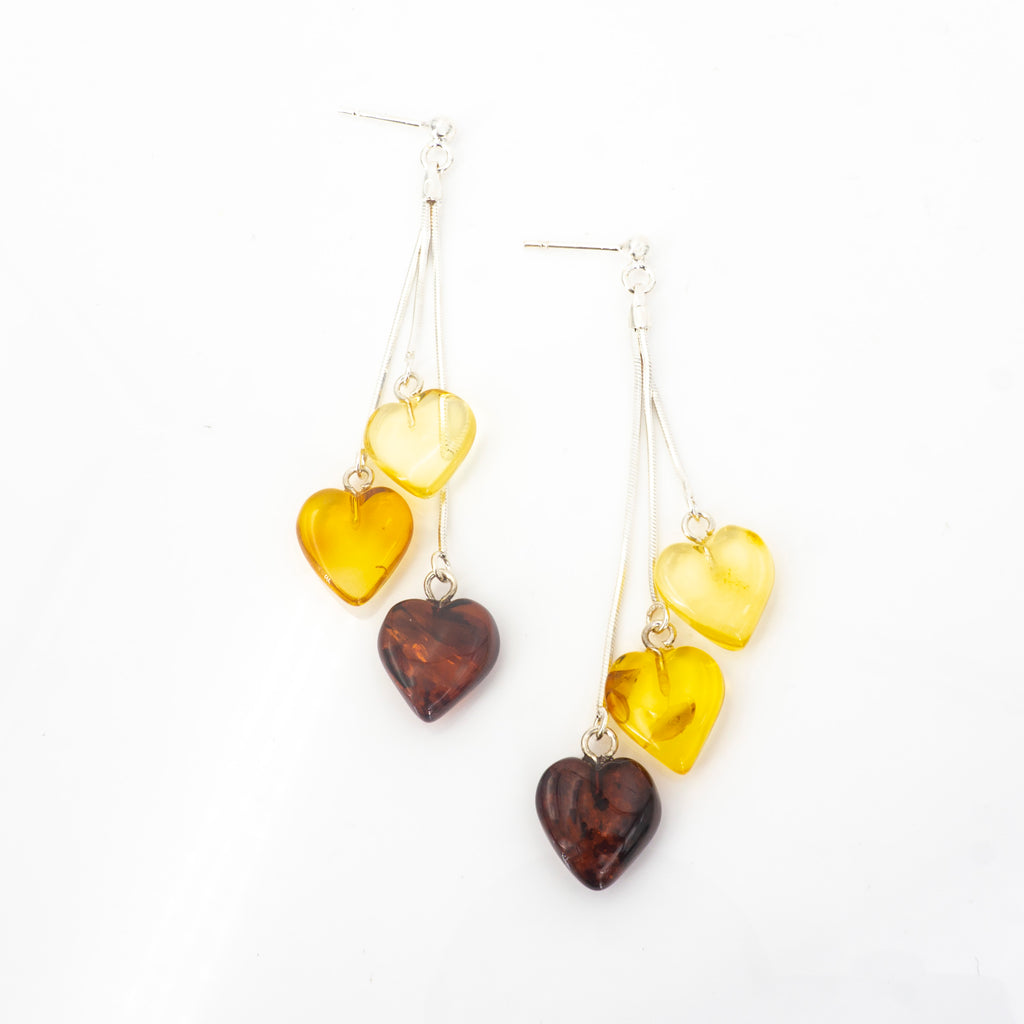 S/S Amber Heart Earrings