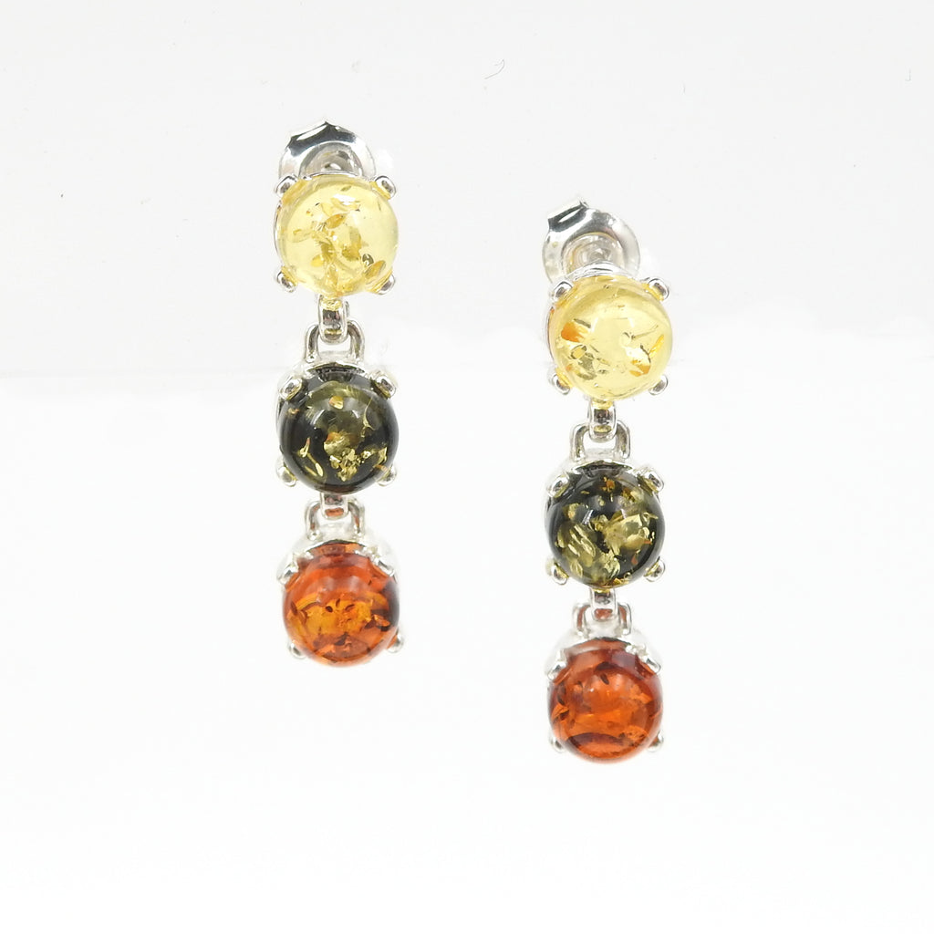 Sterling Silver Multi Color Amber Dangle Earrings