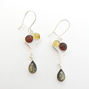 Sterling Silver Multi Color Amber Heart Earrings