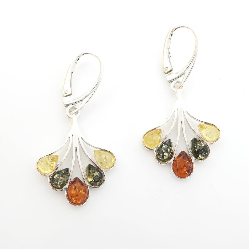 Sterling Silver Multi Color Amber Earrings