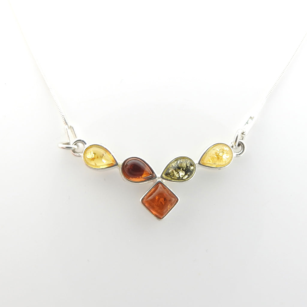 Sterling Silver Multi Color Amber Necklace