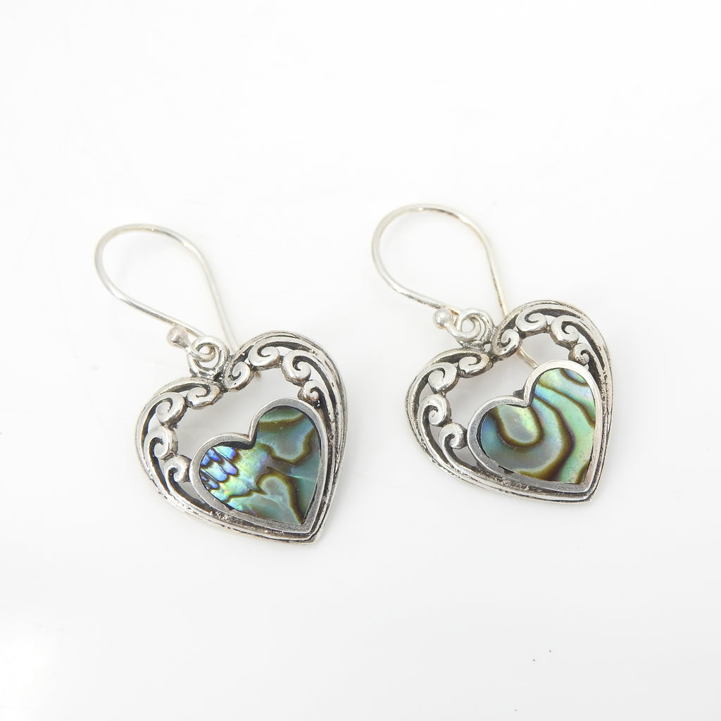 Sterling Silver Abalone Heart Earrings