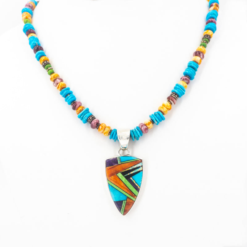 S/S Turquoise Inlay Necklace