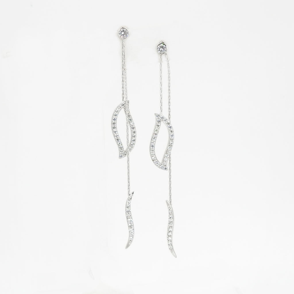 S/S Leaf Chain CZ Earring