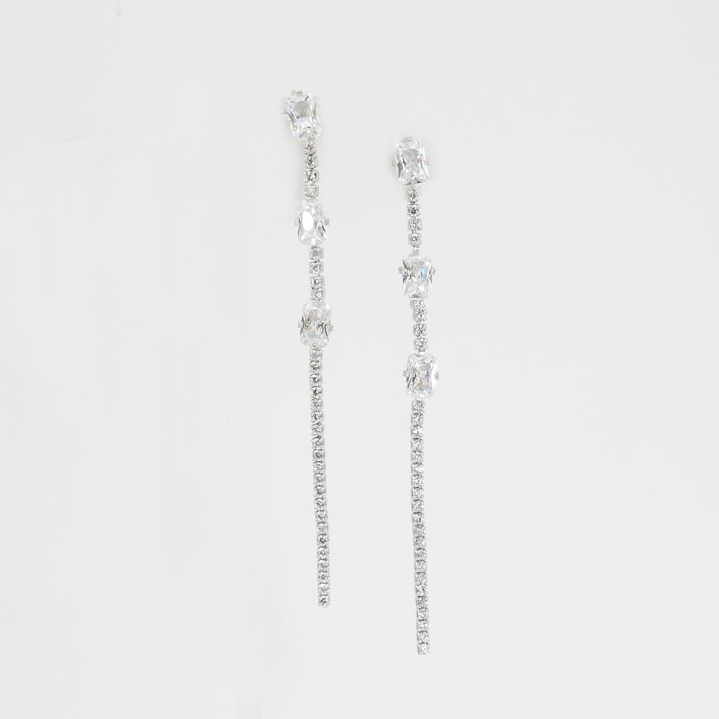 S/S Triple CZ Chain Earring