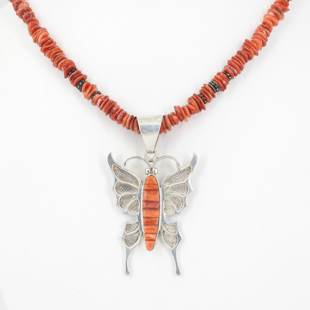 Sterling Silver Spiny Oyster Butterfly Necklace