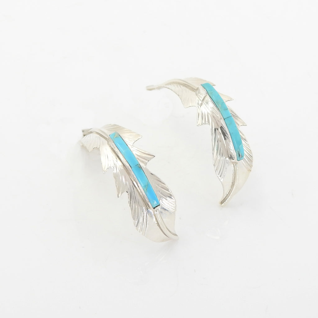 Sterling Silver Turquoise Inlay Feather Earrings