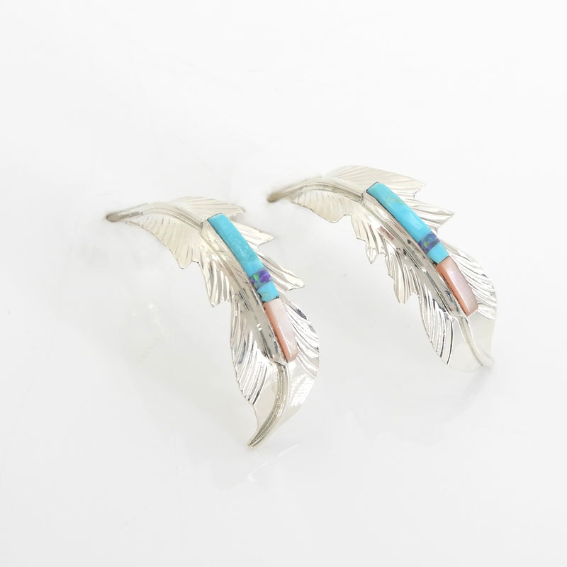 Sterling Silver Native American Inlay Feather Earrings