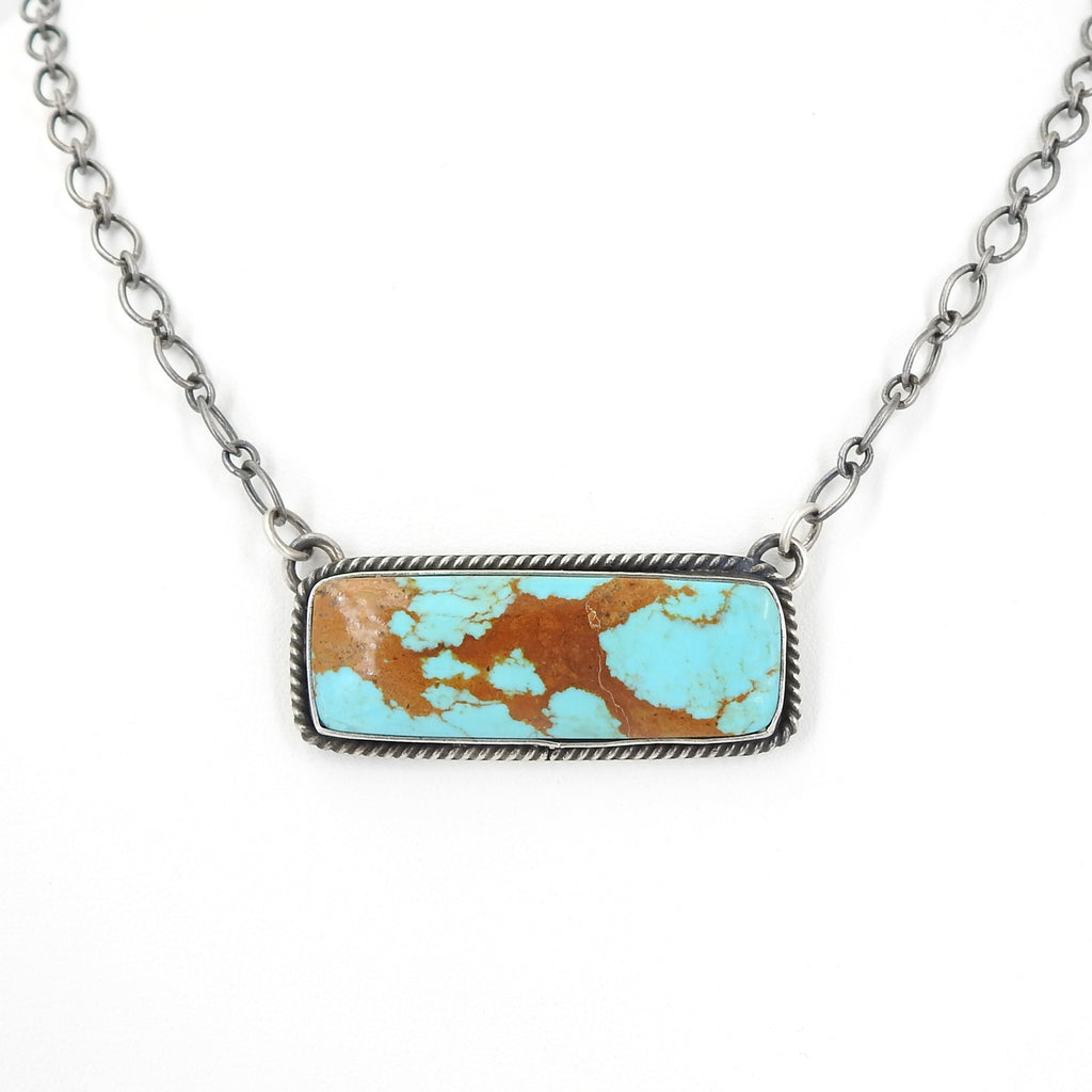 Sterling Silver Native American Turquoise Bar Necklace
