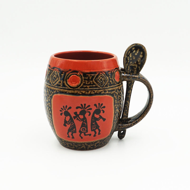 Red Trio Kokopelli Mug With Spoon