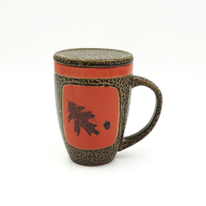 Red Oak Leaf Mug With Lid