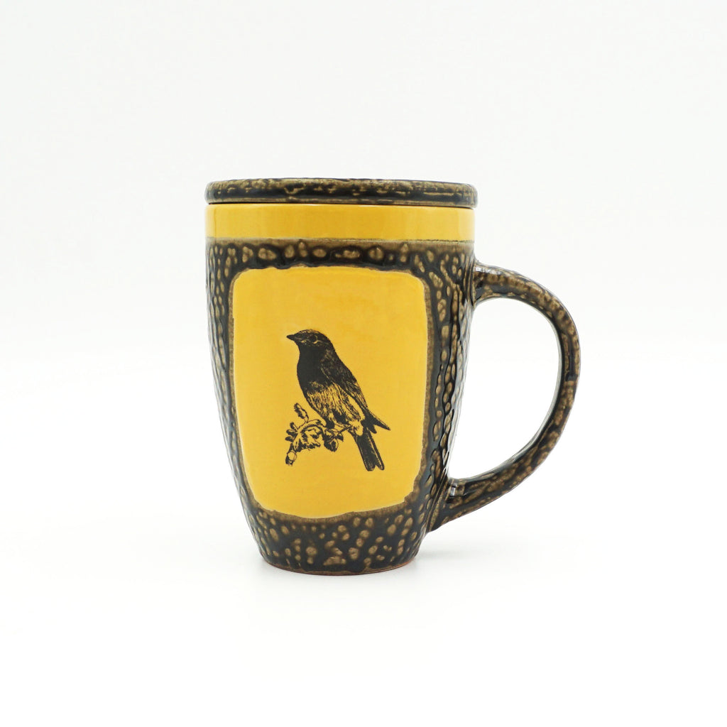 Yellow Songbird Mug With Lid